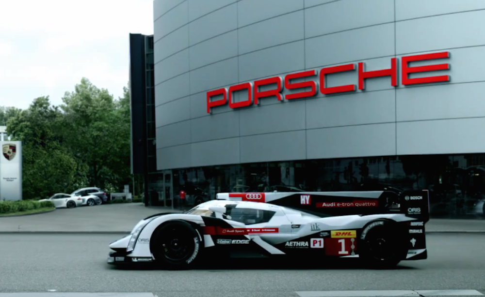 Audi send a 'welcome back' message to Porsche