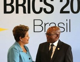 Host of this week's Summit and current chair of the BRICS Grouping, Brazilian President Dilma Rousseff, with SA's President Jacob Zuma.
