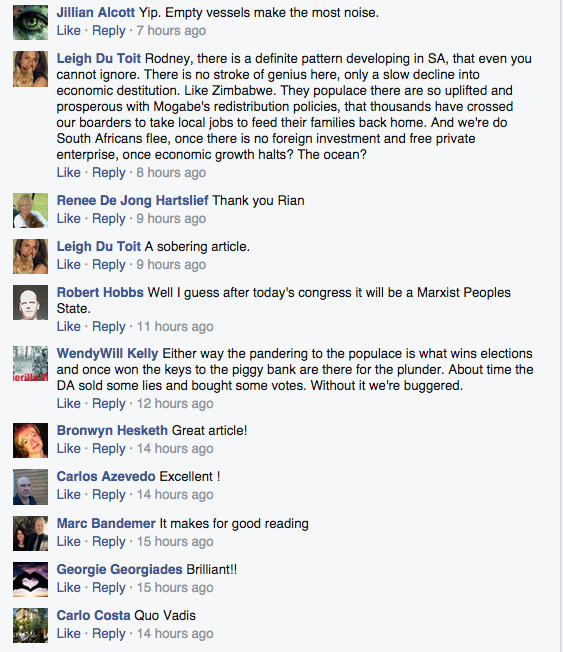 Some of the many comments from Alec Hogg's Facebook page.