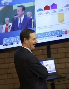 Britain's Chancellor of the Exchequer George Osborne celebrates watching David Cameron being re-elected as a member of parliament for Witney in Britain May 8, 2015.  REUTERS/Paul Burrows