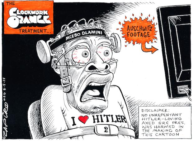 Zapiro's suggestion of correct treatment for Hitler admirer Mcebo Dlamini. More brilliance at zapiro.com