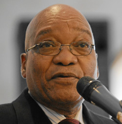 DAVOS/SWITZERLAND, 27JAN10 - Jacob G. Zuma, President of South Africa, speaks at the Opening Media Lunch 'World Cup 2010 - before the kick-off' during the Annual Meeting 2010 of the World Economic Forum in Davos, Switzerland, January 27, 2010 at the Central Sport Hotel. Copyright by World Economic Forum swiss-image.ch/Photo by Michael Wuertenberg