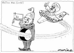 "Zapiro returns to his Jacon ""hollow man"" Zuma theme. More of the cartoonist's brilliance is at zapiro.com"