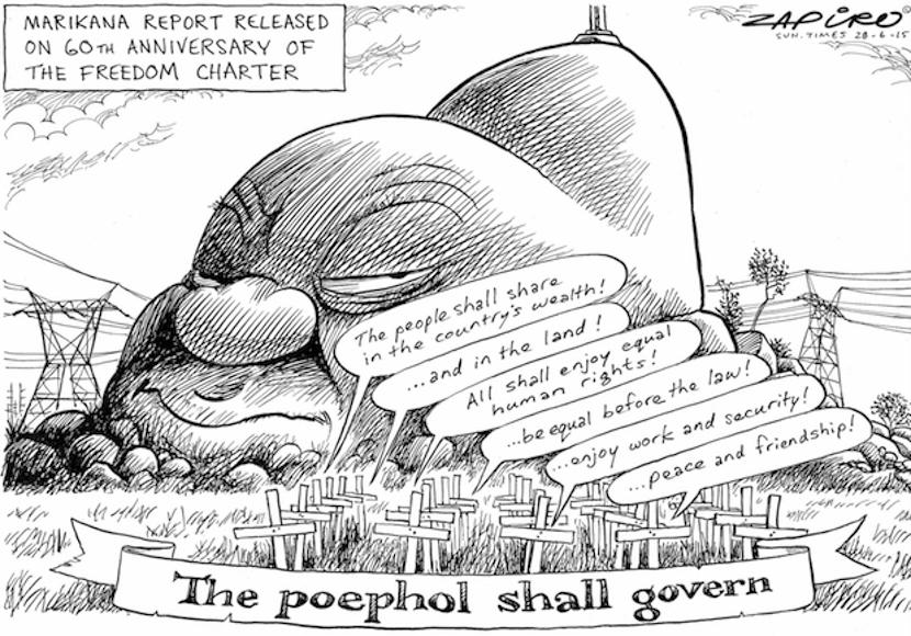 How SA's top cartoonist Zapiro viewed the Marikana report