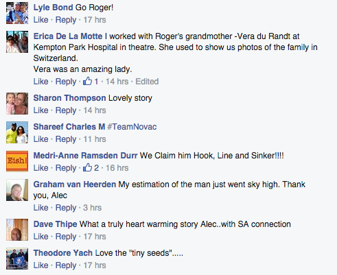 Some comments about Roger Federer's SA connection on Alec Hogg's Facebook page