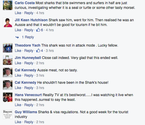Comments on shark scare at J-Bay