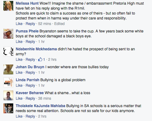 Some of the comments posted on Alec Hogg's Facebook page