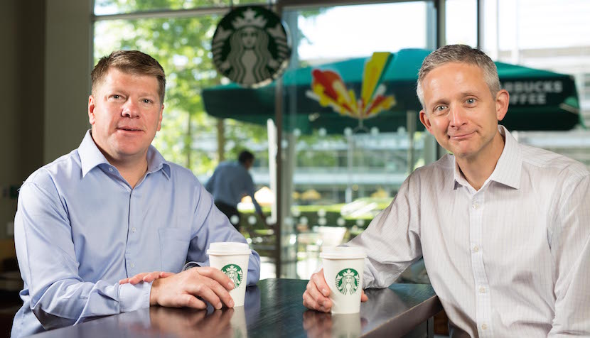 Starbucks announces an exclusive licensed partnership with Taste Holdings for the opening of stores in South Africa, the first in sub-Saharan Africa. Pictured above (from left to right) are Kris Engskov, president, Starbucks Europe, the Middle East and Africa (EMEA) and Carlo Gonzaga, CEO of Taste Holdings. Credit: David Parry