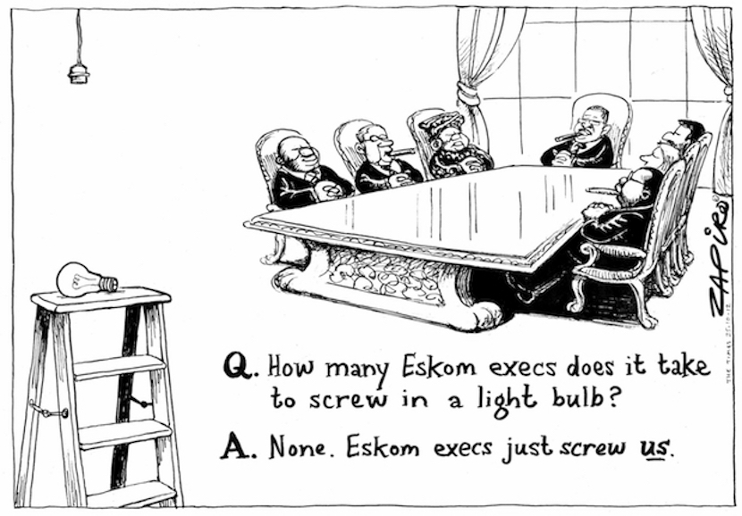Zapiro's perspective of the top team at the State-owned utility Eskom. More of his work at zapiro.com