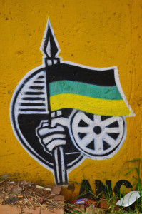 ANC logo stencilled on a wall in Soweto, Johannesburg.