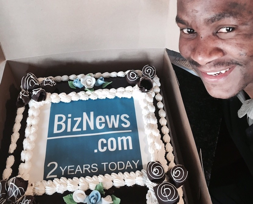Isaac, manager of Fourno's Rosebank (where many important early Biznews.com meetings were held) with our birthday cake. We like celebrating and turing two on the same day Barack Obama has his birthday is reason enough.