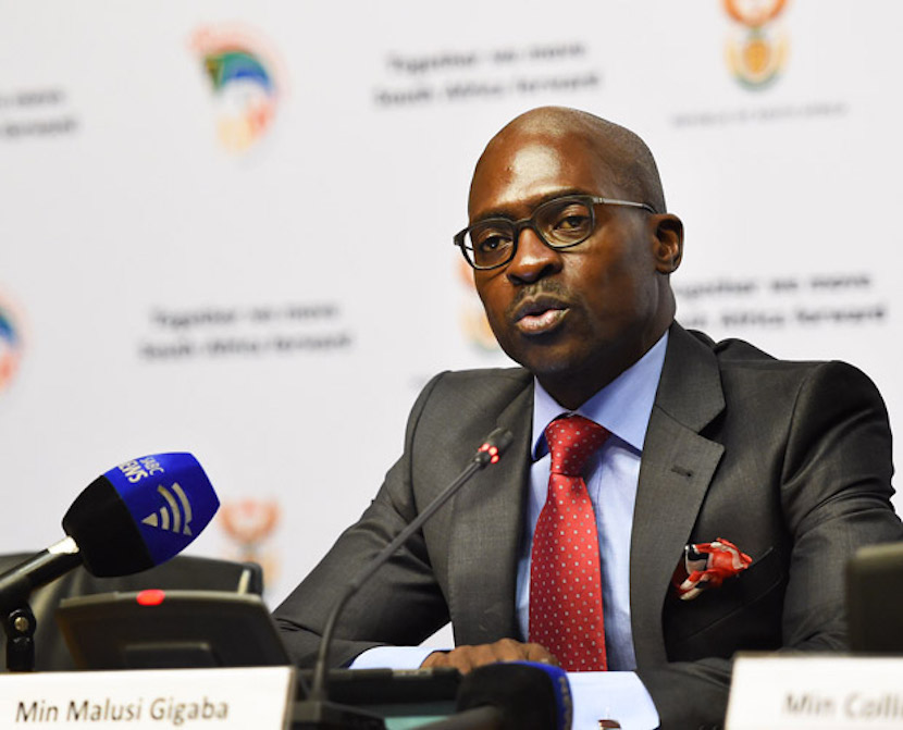 (In the pic - Minister of Home Affairs Malusi Gigaba addressing the media during the Governance and Administration Cluster Media briefing). Governance and Administration post - State of the Nation Address Cluster briefing chaired by Minister Malusi Ggaba which outline progress made by government, held at Imbizo Media Centre, Cape Town, 17/02/2015. Siyasanga Mbambani/DoC.