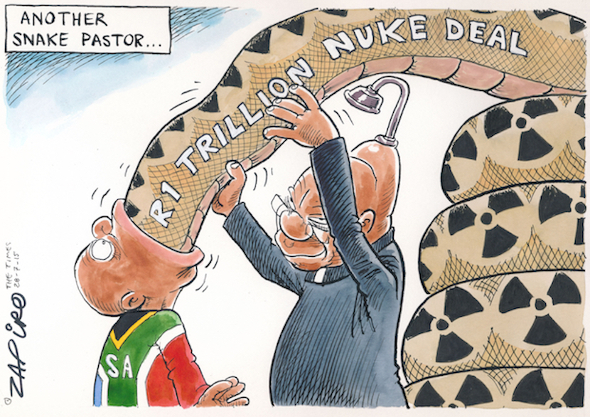 South Africa's top cartoonist Zapiro clearly has strong views on SA President Jacob Zuma's desire to land taxpayers with a $100bn nuclear power fleet. More of his magic at Zapiro..com