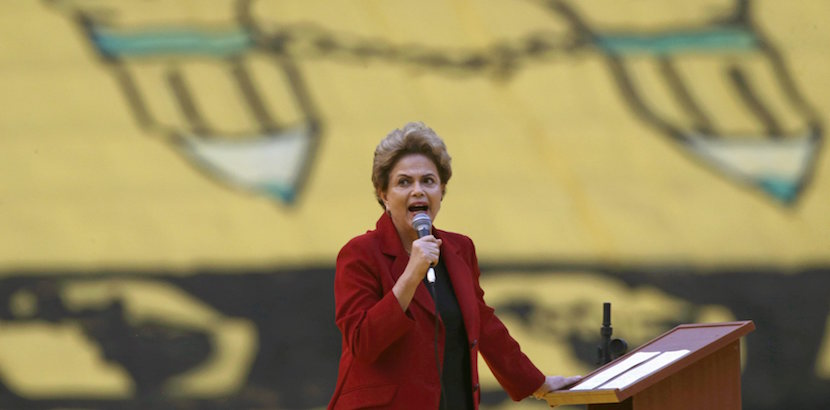 """Brazil's President Dilma Rousseff speaks during the closing ceremony of the """"March of the Daisies"""" at the Mane Garrincha Stadium in Brasilia August 12, 2015. Thousands of women farmers marched through Brazil's capital on Wednesday in a show of support for Rousseff ahead of nationwide protests on Sunday calling for her impeachment. The """"March of the Daisies,"""" organized by leftist groups linked to Rousseff's Workers Party, attracted about 35,000 farmers to Brasilia's downtown area, according to official estimates. REUTERS/Ueslei Marcelino"""