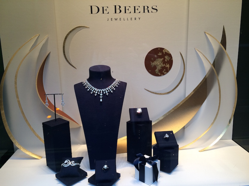 A display in the shop window of the De Beers retail store on Piccadilly Street in London