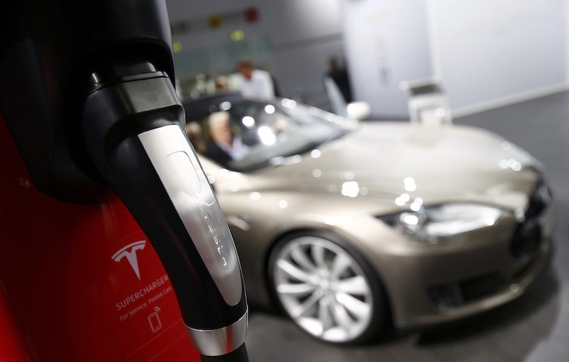 A Tesla Motors charging unit is seen during the media day at the Frankfurt Motor Show (IAA) in Frankfurt, Germany September 16, 2015. REUTERS/Kai Pfaffenbach