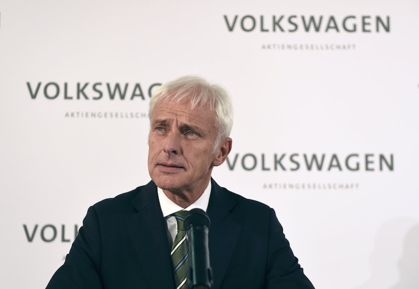New Volkswagen CEO Matthias Mueller addresses a news conference at Volkswagen's headquarters in Wolfsburg, Germany September 25, 2015. The new Chief Executive of Volkswagen said on Friday his priority is to win back trust that has been lost in the company after a scandal over its rigging of diesel emissions tests. The former head of Volkswagen's Porsche sports-car division, succeeds former CEO Martin Winterkorn, who resigned on Wednesday. REUTERS/Fabian Bimmer