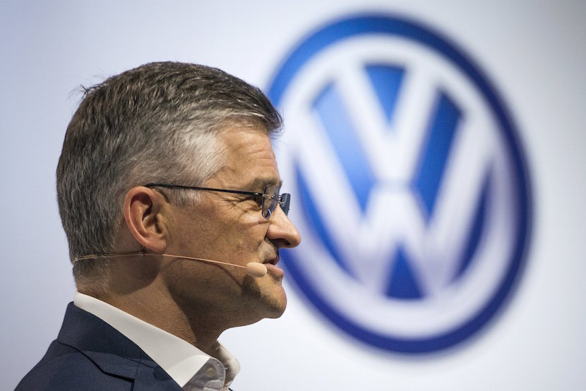 "Michael Horn, President and CEO of Volkswagen Group of America, speaks during the 2016 Volkswagen Passat reveal in the Brooklyn borough of New York September 21, 2015. Volkswagen U.S. head on Monday said he was confident the German automaker would restore customer confidence after it ""totally screwed up"" by rigging emissions tests of diesel-powered vehicles in the United States. Michael Horn vowed to make amends at a lavish event in New York to promote the 2016 Passat where the carmaker doled out German beer, pretzels and ""cheddary ale fondue"" to dealers and the media, before a performance of rockstar Lenny Kravitz. REUTERS/Darren Ornitz"