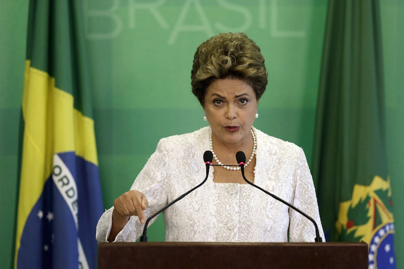 Brazil's President Dilma Rousseff speaks during a press conference to announce a cabinet reshuffle at the Planalto Palace in Brasilia, Brazil, 2015. REUTERS/Ueslei Marcelino
