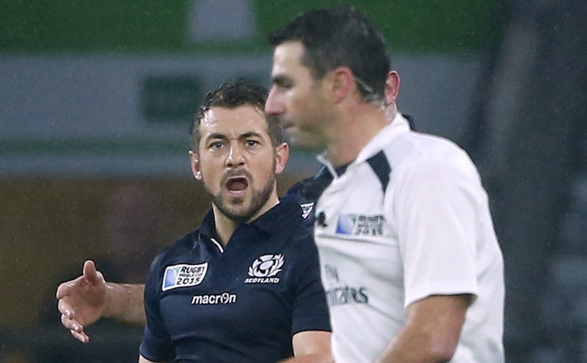 Rugby Union - Australia v Scotland - IRB Rugby World Cup 2015 Quarter Final - Twickenham Stadium, London, England - 18/10/15 Scotland's Greig Laidlaw shouts at referee Craig Joubert after he awarded a penalty to Australia in the last minute of the game Reuters / Eddie Keogh