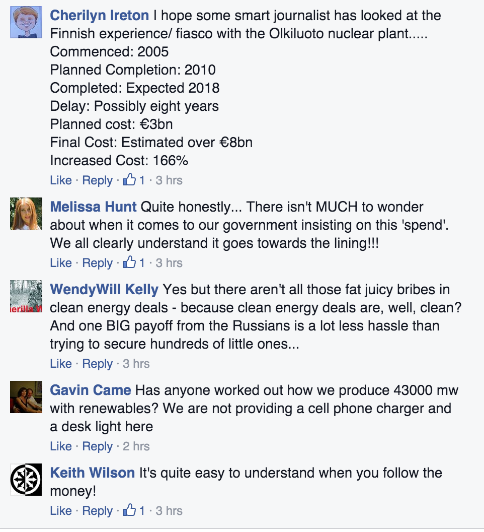 Some of the comments posted underneath the link on Alec Hogg's Facebook page.