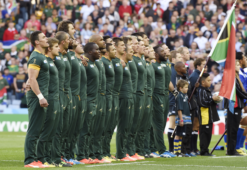 Rugby Union - South Africa v Samoa - IRB Rugby World Cup 2015 Pool B - Villa Park, Birmingham, England - 26/9/15 South Africa line up during the national anthems Reuters / Rebecca Naden Livepic
