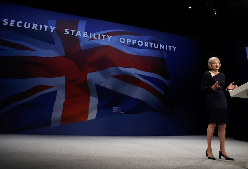 Britain's Home Secretary Theresa May speaks on the third day of the Conservative Party Conference in Manchester northern Britain, October 6 , 2015. REUTERS/Phil Noble