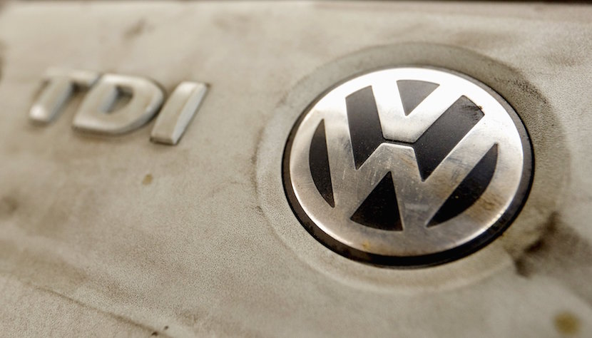 Volkswagen's logo is seen on a TDI diesel engine of its EOS car in Zurich, Switzerland, 2015. Volkswagen shares plunged more than 20 percent, their biggest ever one-day fall, after news that the German carmaker had rigged U.S. emissions tests, and Germany said it would investigate whether data had been falsified in Europe too. REUTERS/Arnd Wiegmann