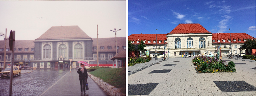 Weimar train station, 1990 and 2015