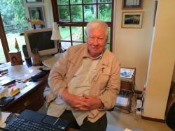 "Author RW ""Bill"" Johnson behind his desk at home in Cape Town. His best seller How long will SA survive? has topped the non fiction lists for the past year."