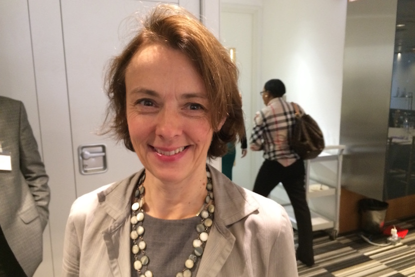 FT columnist Lucy Kellaway - loves her over-stacked desk with the view of a red bricks.