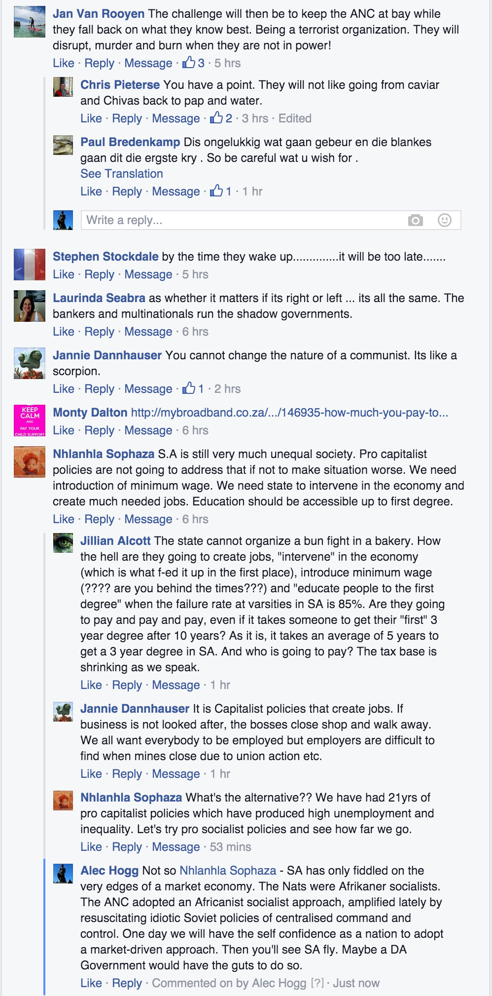 Some of the comments under the link to this story on Alec Hogg's Faccebnoook page