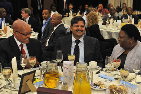 File Photo. President Jacob Zuma , Atul Gupta and Eastern Cape Premier Noxolo Kieviet at a New Age Breakfast in Port Elizabeth. www.flickr.com.