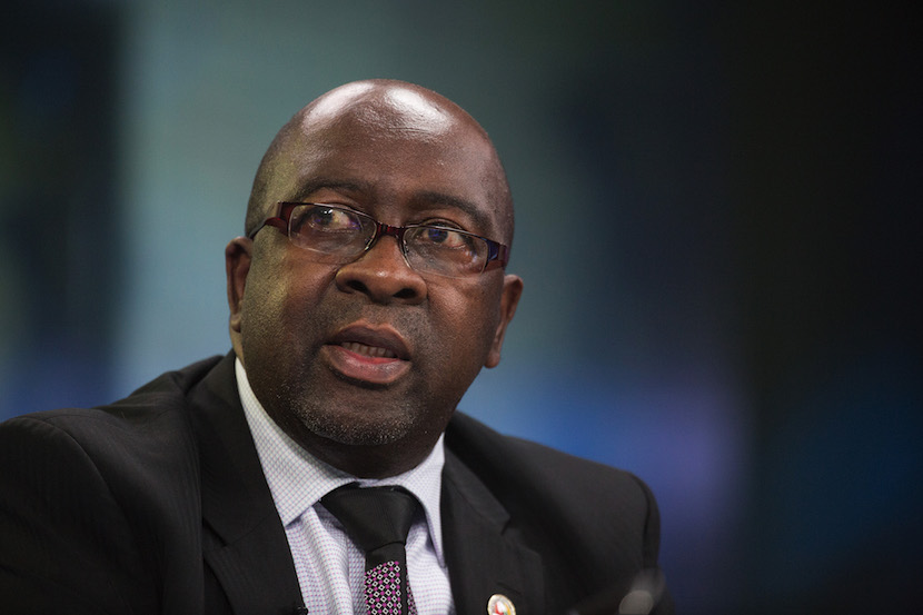 Nhlanhla Nene, South Africa's former finance minister, speaks during a Bloomberg Television interview in London, U.K. Photographer: Simon Dawson/Bloomberg