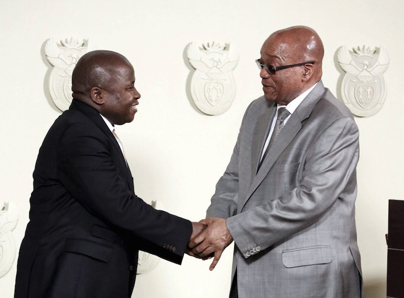 South Africa's President Jacob Zuma (R) congratulates new Finance Minister David van Rooyen during a ceremony at the Union building in Pretoria, December 10, 2015. REUTERS/Sydney Seshibedi