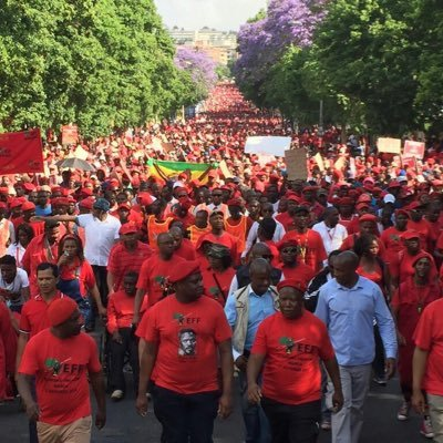 EFF deputy president Floyd Shivambu and president Julius Malema lead a march through Johannesburg. Twitter pic.