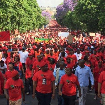 EFF deputy president Floyd Shivambu and president Julius Malema lead a march through Johannesburg. Twitter pic.