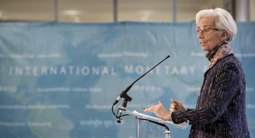 Managing Director of the International Monetary Fund Christine Lagarde speaks at a press conference at the Treasury in London, December 2015. REUTERS/Stefan Rousseau/Pool.