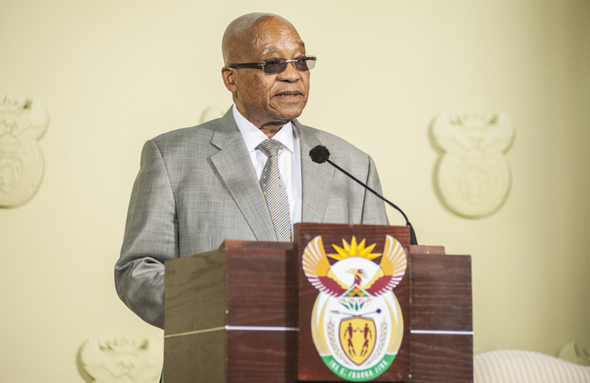 Jacob Zuma, South Africa's president, speaks at the swearing in ceremony for David van Rooyen, South Africa's incoming finance minister, at the Union Buildings in Pretoria, South Africa, on Thursday, Dec. 10, 2015. The rand fell for a sixth day in the longest streak of losses since November 2013, stocks slid and bond prices tumbled the most on record after South African President Jacob Zuma fired Finance Minister Nhlanhla Nene and replaced him with a little-known lawmaker. Photographer: Waldo Swiegers/Bloomberg *** Local Caption *** Jacob Zuma