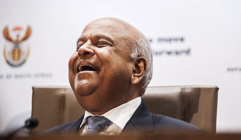 Pravin Gordhan, South Africa's new finance minister, reacts during a media briefing in Pretoria, South Africa, on Monday, Dec. 14, 2015. South Africa's government was left trying to shore up credibility after President Jacob Zuma's debacle over who should run the finance ministry called into question his ability to oversee the economy. Photographer: Waldo Swiegers/Bloomberg