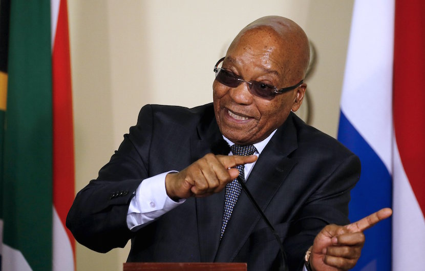 President of South Africa Jacob Zuma gestures during a news briefing at the Union Buildings in Pretoria. REUTERS/Siphiwe Sibeko