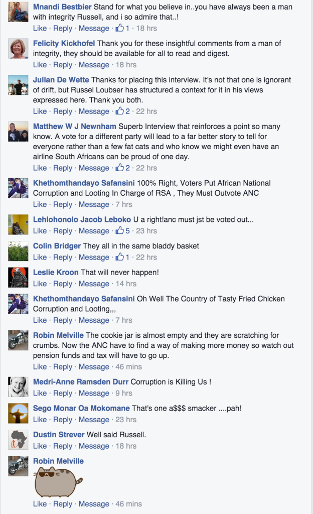 Comments on Russell Loubser