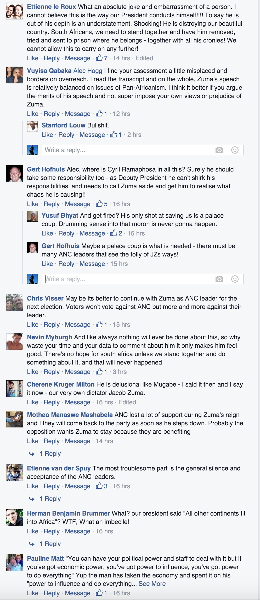 Some of the comments under the link to this article on Alec Hogg's Facebook page