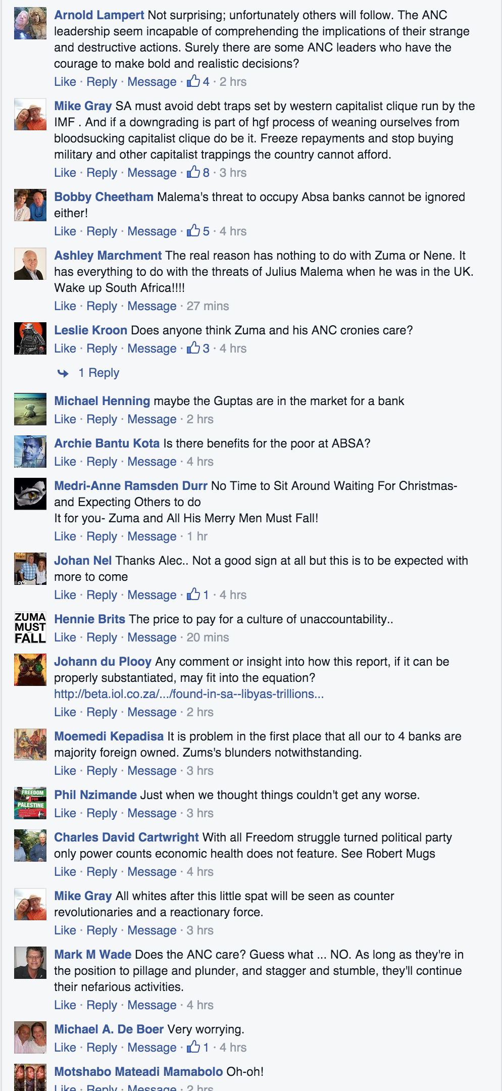 Some of the comments under the link to this story on Alec Hogg's Facebook page