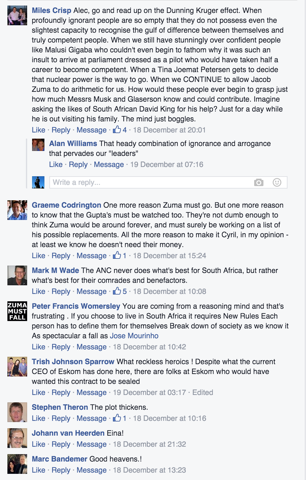 Some of the comments posted under the link to this story on Alec Hogg's Facebook page.