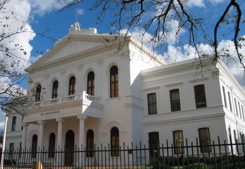 The Ou Hoofgebou (Former Main Administration building, now the Law Faculty) on Stellenbosch University campus.