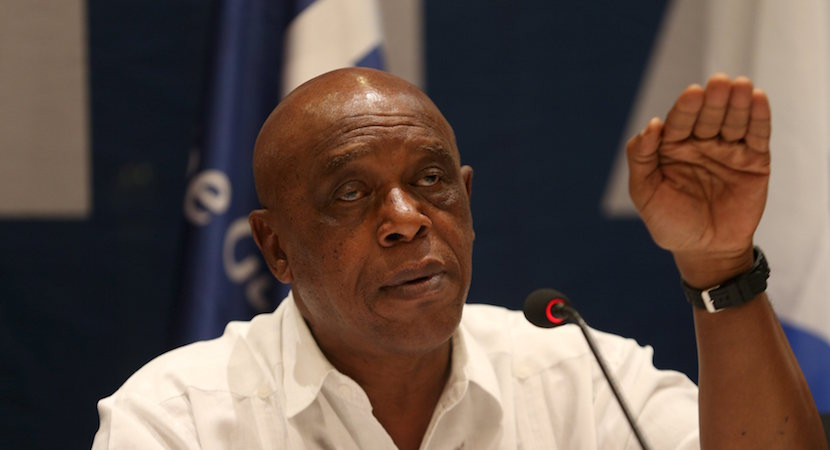 Tokyo Sexwale, chairman of the FIFA Monitoring Committee Israel-Palestine, gestures during a news conference. REUTERS/Mohamad Torokman