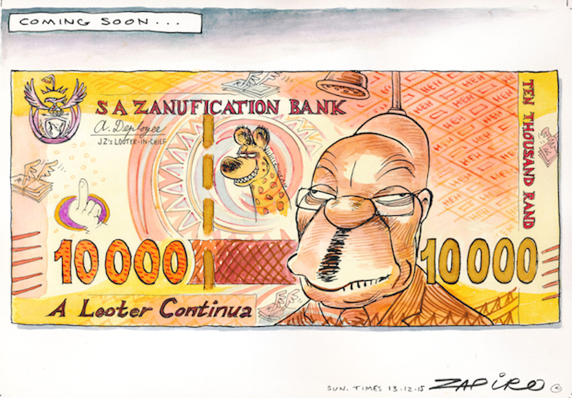 The brilliant Zapiro explains Jacob Zuma's impact on South African wealth. For more Zapiro magic, click here.