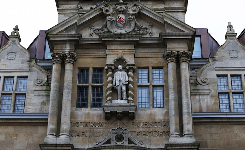 The statue of Cecil Rhodes is seen on the facade of Oriel College in Oxford, southern England, December 30, 2015. REUTERS/Eddie Keogh