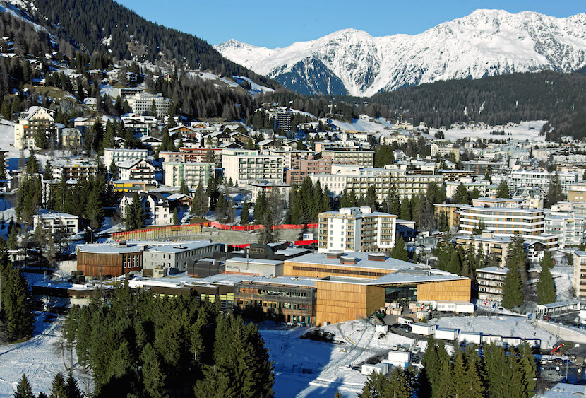 DAVOS/SWITZERLAND, 17JAN11 - Aerial Photo of Davos, the biggest tourism metropolis of the Swiss alps, captured before the opening of the Annual Meeting 2011 of the World Economic Forum in Davos, Switzerland, January 17, 2011. Davos is in the middle of Swiss Alps and the city for holidays, sports, congresses, health, development and culture. Copyright by World Economic Forum swiss-image.ch/Photo by Andy Mettler